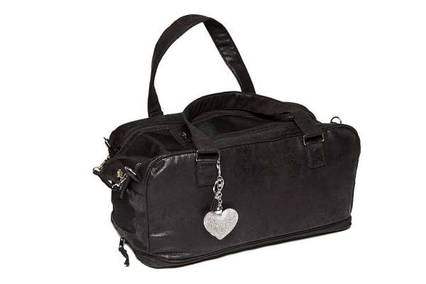 Hundetasche St. Tropez Vintage Black LOVE HEART - Clear Chrystals Inlay Creme-Black inkl. Blanket