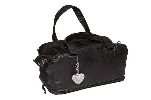 Hundetasche St. Tropez Vintage Black LOVE HEART - Clear Chrystals Inlay Creme-Black inkl. Blanket