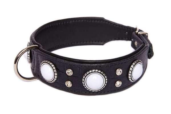Hundehalsband Palma Deluxe Croc - Black-White