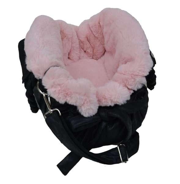 Luxus Hundetasche My Love -Black-Rosa